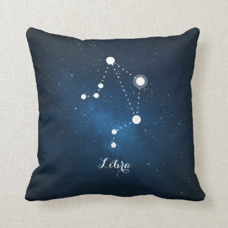 Astrology Blue Nebula Libra Zodiac Sign Throw Pillow