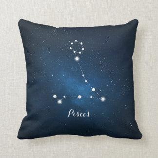 Astrology Blue Nebula Pisces Zodiac Sign Throw Pillow