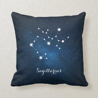 Astrology Blue Nebula Sagittarius Zodiac Sign Throw Pillow