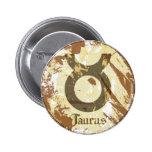 Astrology Grunge Taurus 2 Inch Round Button