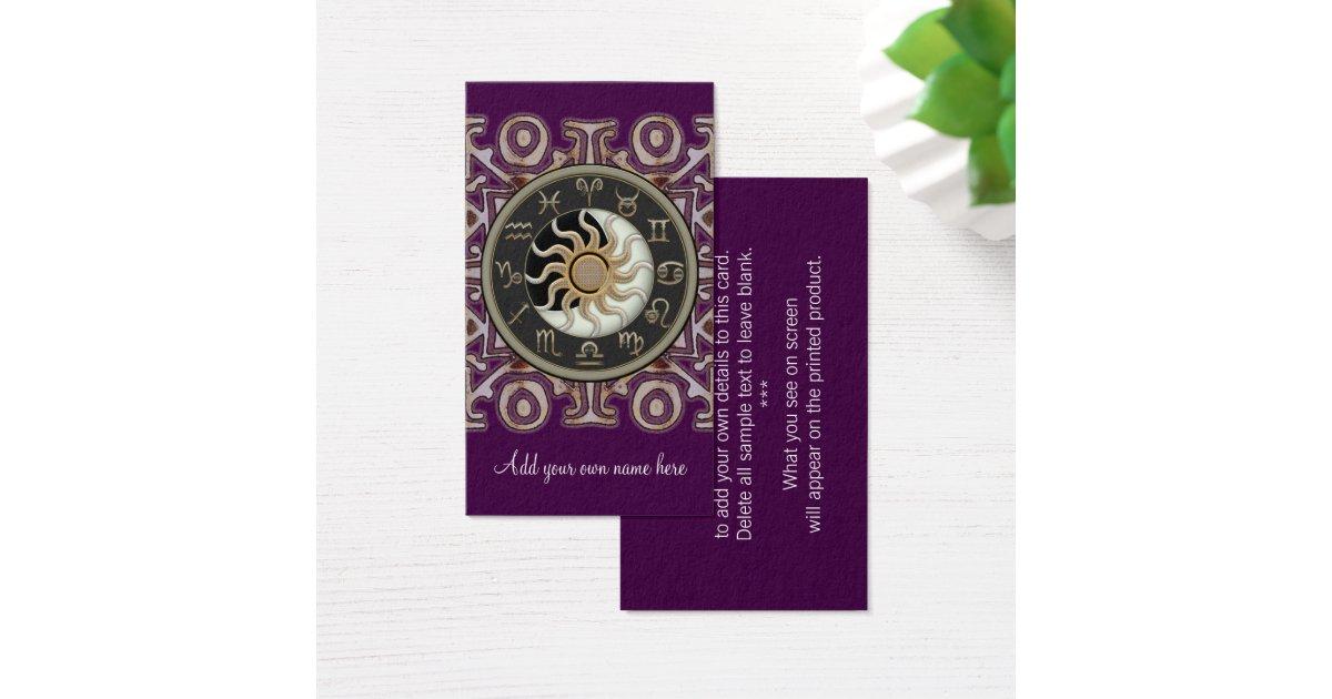 Astrology Sun and Moon Design Custom Business Card   Zazzle.com