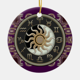 Astrology Sun and Moon Personalized Ceramic Ornament