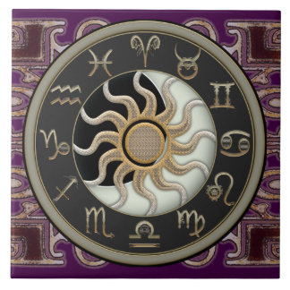 Astrology Sun and Moon Large Square Tile