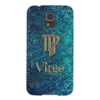 Astrology Teal Glitter Gold Zodiac Sign Virgo Case Galaxy S5 Case