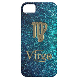 Astrology Teal Glitter Gold Zodiac Sign Virgo Case iPhone 5 Cases