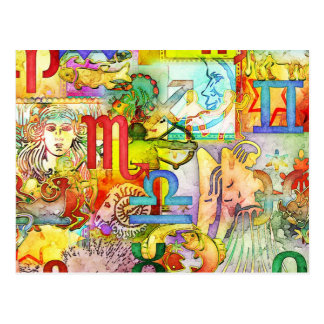 Astrology Zodiac Symbols and Signs Postcard