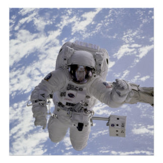 Astronaut Above Earth During Spacewalk Poster