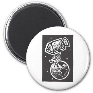 Astronaut and Earth 2 Inch Round Magnet