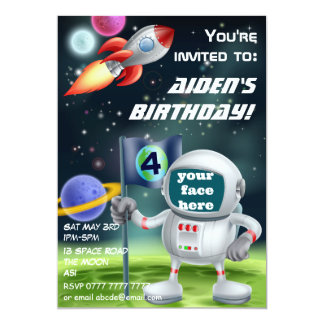 Astronaut and space rocket birthday invite