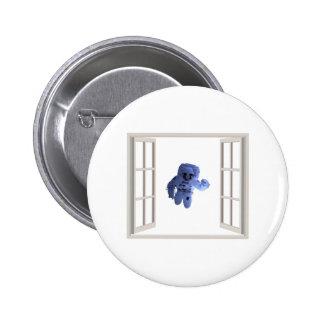 Astronaut behind the window pinback button