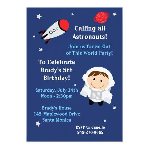 "Astronaut Birthday Party Invitation 5"" X 7"" Invitation Card"