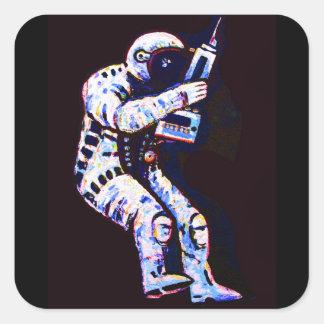 Astronaut, Black Background Square Sticker