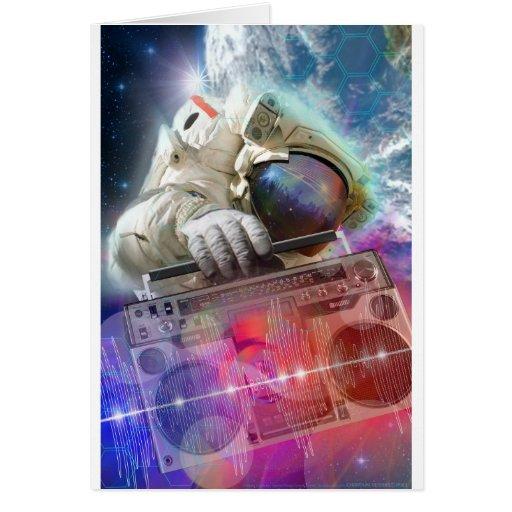 Astronaut Boombox Greeting Card