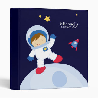 Astronaut Boy Kid's Personalized Binder