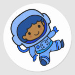 Astronaut boy round stickers