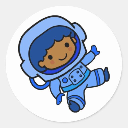 Astronaut boy round stickers