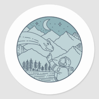 Astronaut Brontosaurus Moon Stars Mountains Circle Classic Round Sticker
