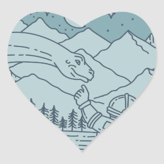 Astronaut Brontosaurus Moon Stars Mountains Circle Heart Sticker