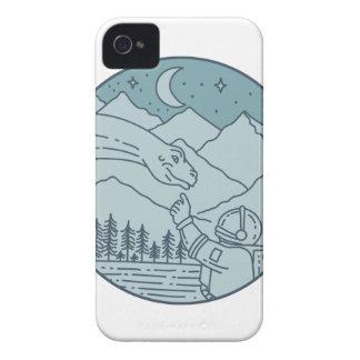Astronaut Brontosaurus Moon Stars Mountains Circle iPhone 4 Case