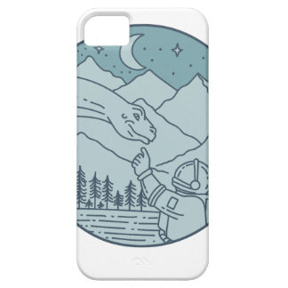 Astronaut Brontosaurus Moon Stars Mountains Circle iPhone SE/5/5s Case