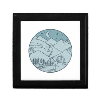 Astronaut Brontosaurus Moon Stars Mountains Circle Keepsake Box