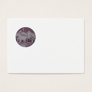 Astronaut Brontosaurus Mountain Moon Circle Mono L Business Card