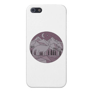 Astronaut Brontosaurus Mountain Moon Circle Mono L Case For iPhone SE/5/5s
