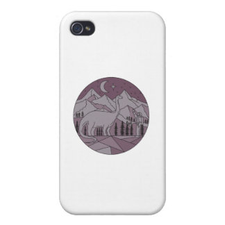 Astronaut Brontosaurus Mountain Moon Circle Mono L iPhone 4/4S Cases