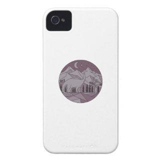 Astronaut Brontosaurus Mountain Moon Circle Mono L iPhone 4 Case