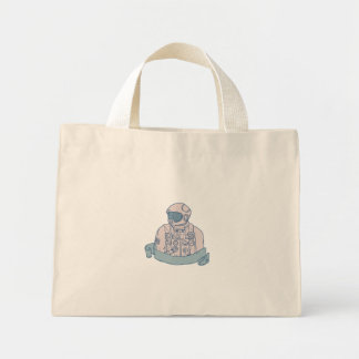 Astronaut Bust Ribbon Drawing Mini Tote Bag