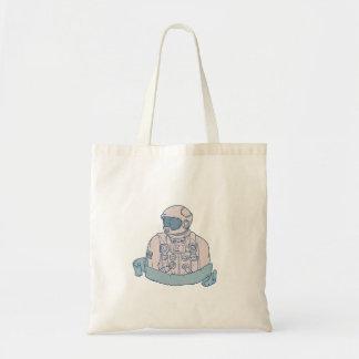 Astronaut Bust Ribbon Drawing Tote Bag