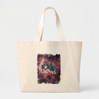 Astronaut Cat Kitten Funny Cosmos Large Tote Bag