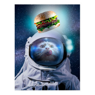 Astronaut cat looking at the hamburger postcard