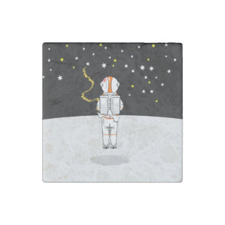 Astronaut Caught Short Weeing in Space Stone Magnet
