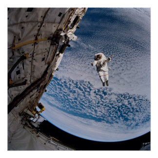 Astronaut conducting spacewalk above Discovery Poster
