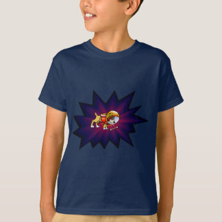 Astronaut Dog and Bone with Late Sunset Background T-Shirt