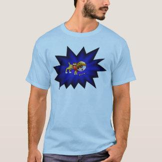Astronaut Dog and Bone with Nightfall Background T-Shirt