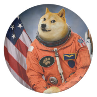 astronaut dog  - doge - shibe - doge memes dinner plate