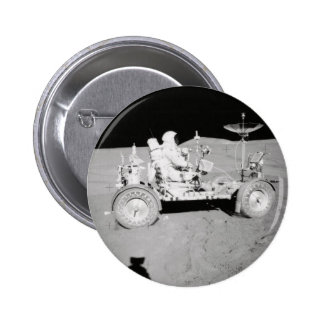 Astronaut driving Lunar Lander on the Moon Pinback Button