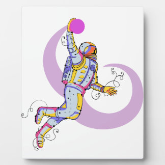Astronaut Dunking Ball Doodle Plaque