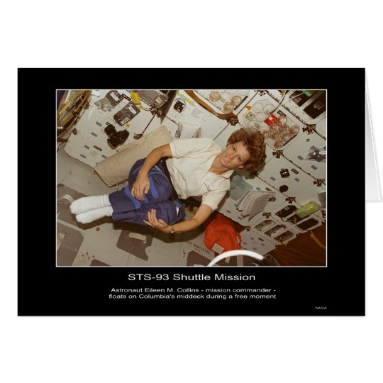 Astronaut Eileen M. Collins-floats on Columbia's m Card