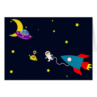 Astronaut Encounters Aliens in Space Greeting Cards