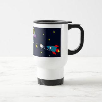 Astronaut Encounters Aliens in Space Travel Mug
