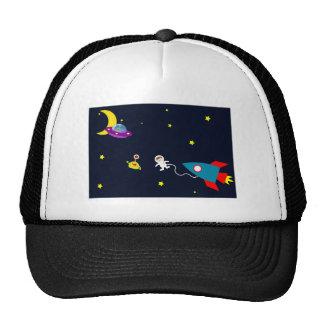 Astronaut Encounters Aliens in Space Trucker Hat