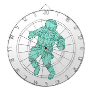 Astronaut Floating in Space Drawing Dartboard With Darts
