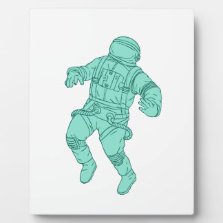 Astronaut Floating in Space Drawing Plaque
