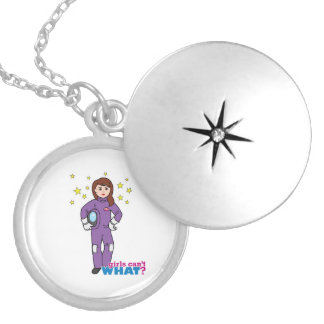 Astronaut-Girl 1 Silver Plated Necklace