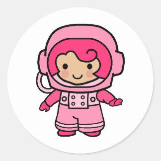 Astronaut Girl Classic Round Sticker