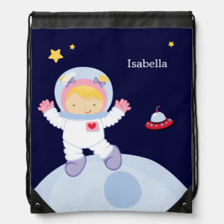 Astronaut Girl Kid's Personalized Drawstring Backpack