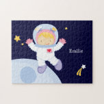 """Astronaut Girl Kid&#39;s Personalized Jigsaw Puzzle<br><div class=""""desc"""">Custom jigsaw puzzle features a cool space theme.  Personalize with your little girl&#39;s name,  monogram,  initials,  or text of your choice for a one of a kind gift.   Cocoa Studio.</div>"""